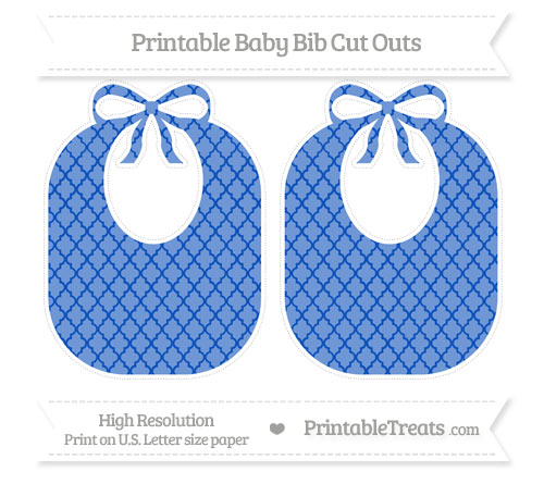 Free Sapphire Blue Moroccan Tile Large Baby Bib Cut Outs