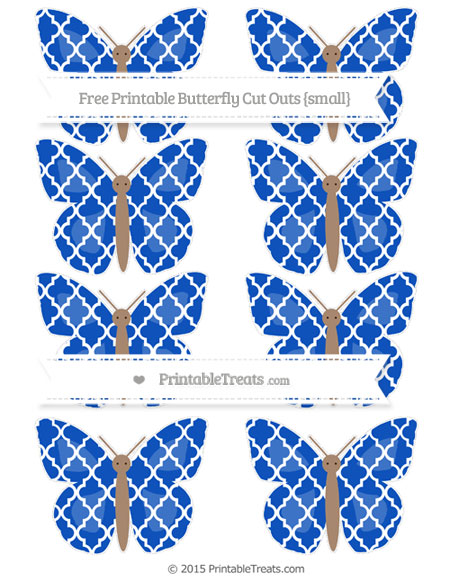 Free Sapphire Blue Moroccan Tile Small Butterfly Cut Outs