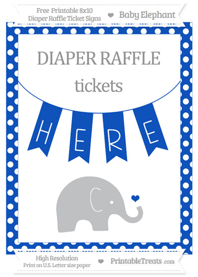 Free Sapphire Blue Polka Dot Baby Elephant 8x10 Diaper Raffle Ticket Sign