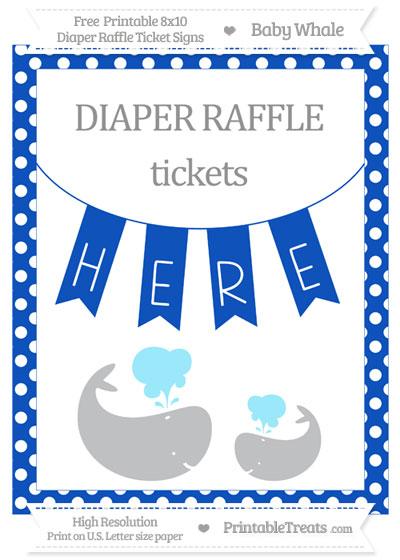 Free Sapphire Blue Polka Dot Baby Whale 8x10 Diaper Raffle Ticket Sign