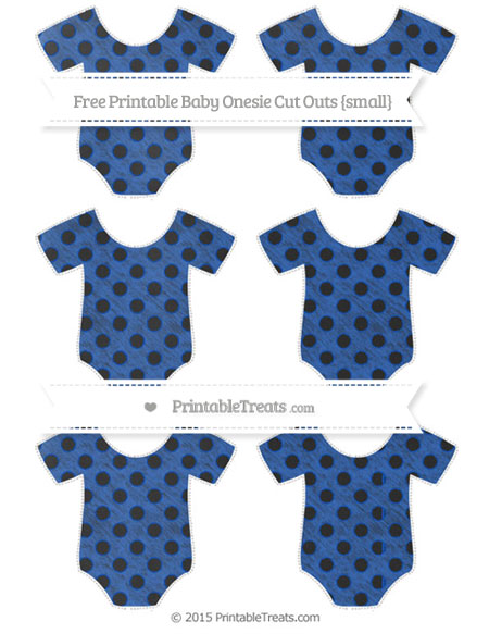 Free Sapphire Blue Polka Dot Chalk Style Small Baby Onesie Cut Outs