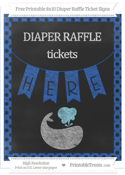 Free Sapphire Blue Polka Dot Chalk Style Whale 8x10 Diaper Raffle Ticket Sign