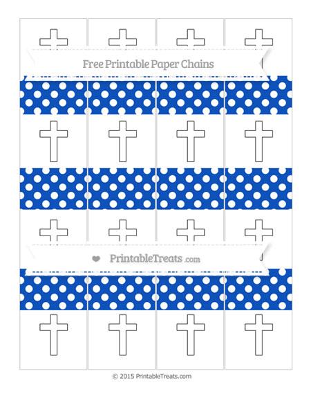 Free Sapphire Blue Polka Dot Cross Paper Chains