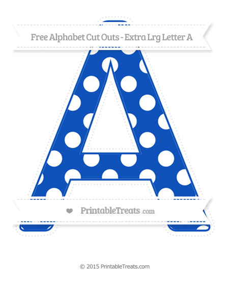 Free Sapphire Blue Polka Dot Extra Large Capital Letter A Cut Outs
