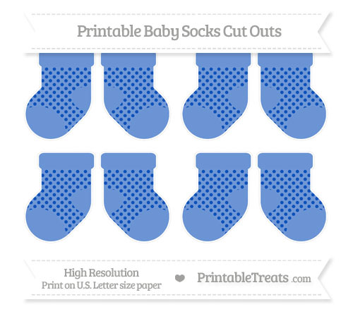 Free Sapphire Blue Polka Dot Small Baby Socks Cut Outs