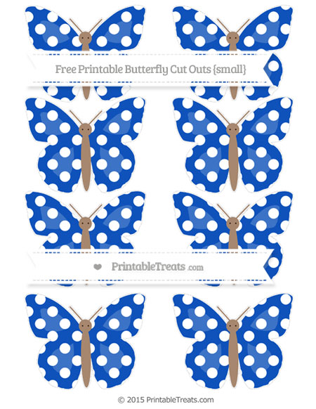 Free Sapphire Blue Polka Dot Small Butterfly Cut Outs