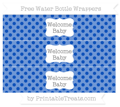 Free Sapphire Blue Polka Dot Welcome Baby Water Bottle Wrappers