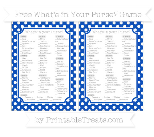 Free Sapphire Blue Polka Dot What's in Your Purse Baby Shower Game