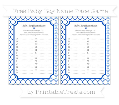 Free Sapphire Blue Quatrefoil Pattern Baby Boy Name Race Game