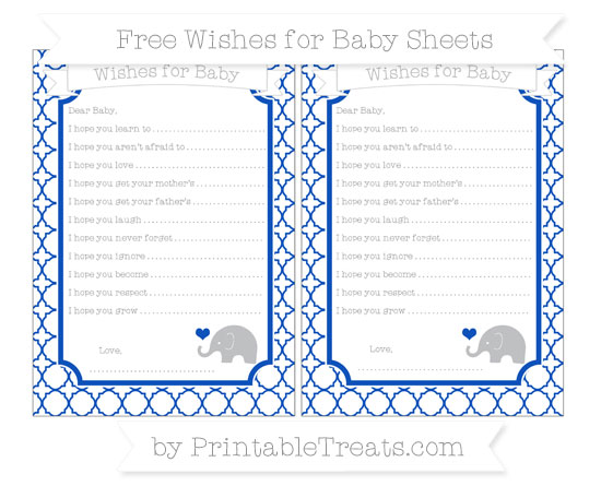 Free Sapphire Blue Quatrefoil Pattern Baby Elephant Wishes for Baby Sheets