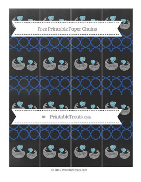 Free Sapphire Blue Quatrefoil Pattern Chalk Style Baby Whale Paper Chains