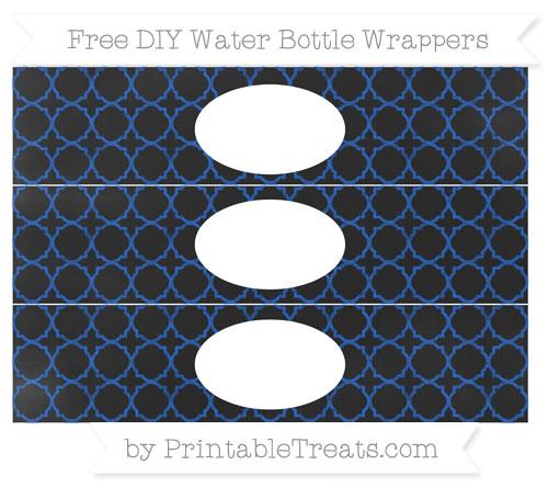 Free Sapphire Blue Quatrefoil Pattern Chalk Style DIY Water Bottle Wrappers