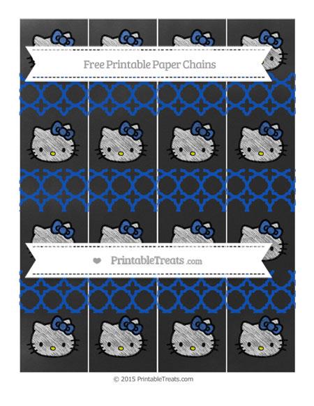 Free Sapphire Blue Quatrefoil Pattern Chalk Style Hello Kitty Paper Chains