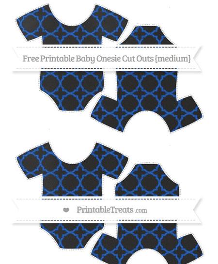 Free Sapphire Blue Quatrefoil Pattern Chalk Style Medium Baby Onesie Cut Outs