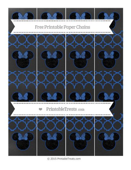Free Sapphire Blue Quatrefoil Pattern Chalk Style Minnie Mouse Paper Chains