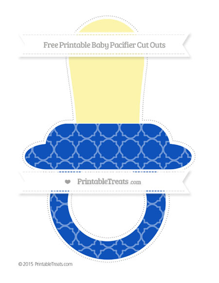 Free Sapphire Blue Quatrefoil Pattern Extra Large Baby Pacifier Cut Outs