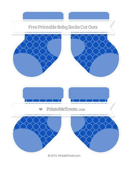 Free Sapphire Blue Quatrefoil Pattern Medium Baby Socks Cut Outs