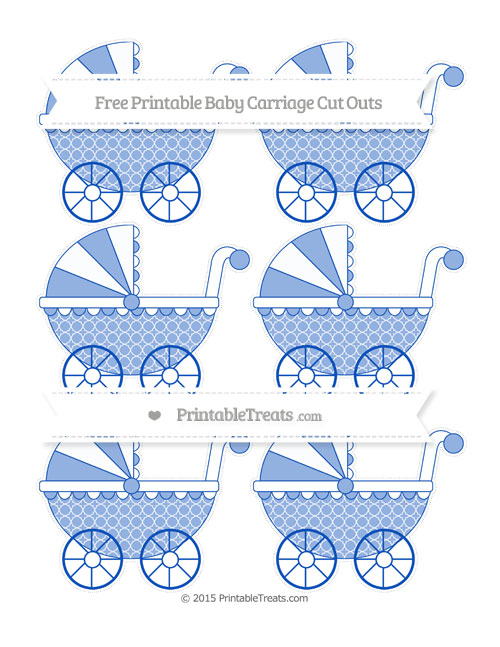 Free Sapphire Blue Quatrefoil Pattern Small Baby Carriage Cut Outs