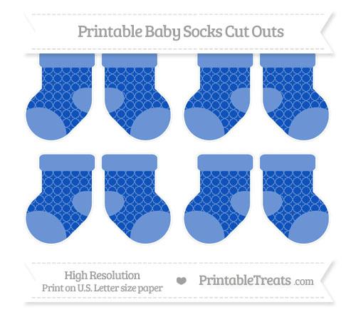 Free Sapphire Blue Quatrefoil Pattern Small Baby Socks Cut Outs
