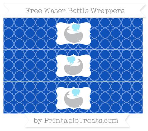 Free Sapphire Blue Quatrefoil Pattern Whale Water Bottle Wrappers