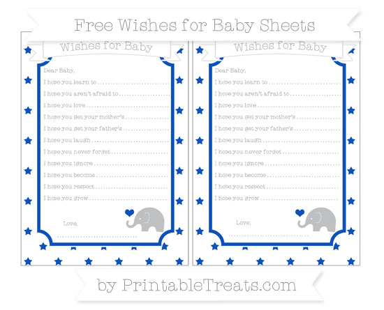 Free Sapphire Blue Star Pattern Baby Elephant Wishes for Baby Sheets