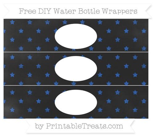 Free Sapphire Blue Star Pattern Chalk Style DIY Water Bottle Wrappers