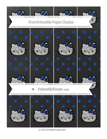 Free Sapphire Blue Star Pattern Chalk Style Hello Kitty Paper Chains