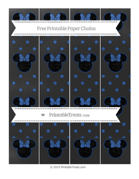 Free Sapphire Blue Star Pattern Chalk Style Minnie Mouse Paper Chains