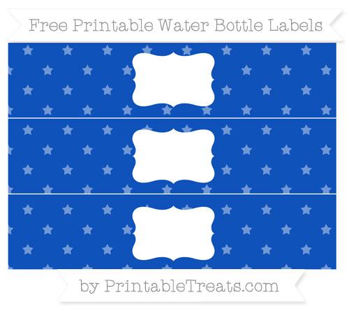 Free Sapphire Blue Star Pattern Water Bottle Labels