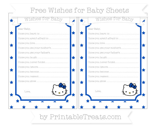 Free Sapphire Blue Star Pattern Hello Kitty Wishes for Baby Sheets