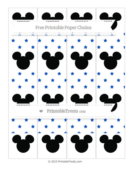 Free Sapphire Blue Star Pattern Mickey Mouse Paper Chains