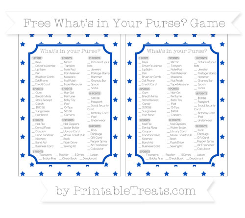 Free Sapphire Blue Star Pattern What's in Your Purse Baby Shower Game
