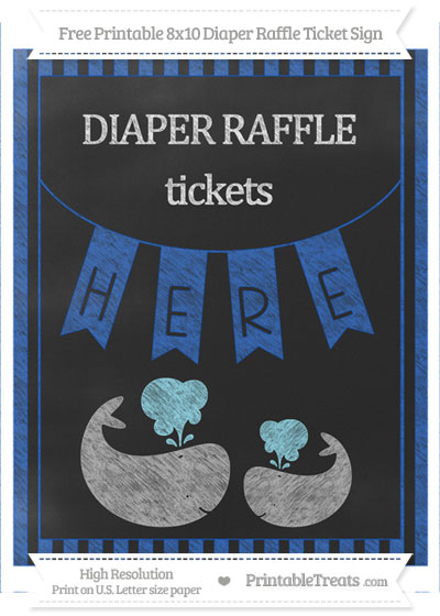 Free Sapphire Blue Striped Chalk Style Baby Whale 8x10 Diaper Raffle Ticket Sign