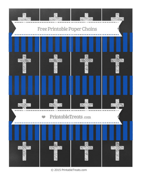 Free Sapphire Blue Striped Chalk Style Cross Paper Chains