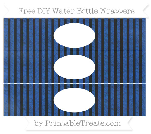 Free Sapphire Blue Striped Chalk Style DIY Water Bottle Wrappers