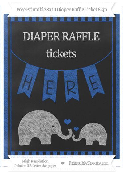 Free Sapphire Blue Striped Chalk Style Elephant 8x10 Diaper Raffle Ticket Sign