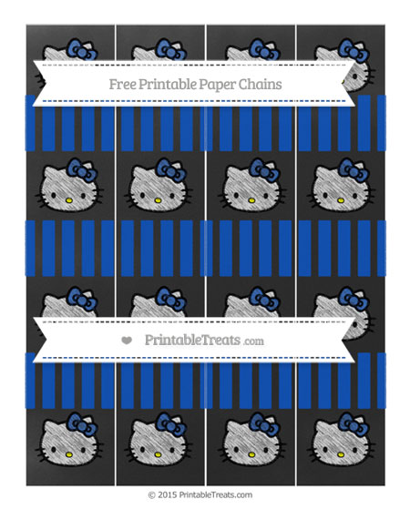 Free Sapphire Blue Striped Chalk Style Hello Kitty Paper Chains