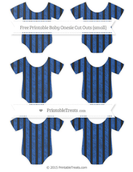 Free Sapphire Blue Striped Chalk Style Small Baby Onesie Cut Outs