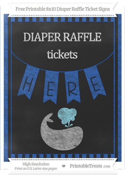 Free Sapphire Blue Striped Chalk Style Whale 8x10 Diaper Raffle Ticket Sign