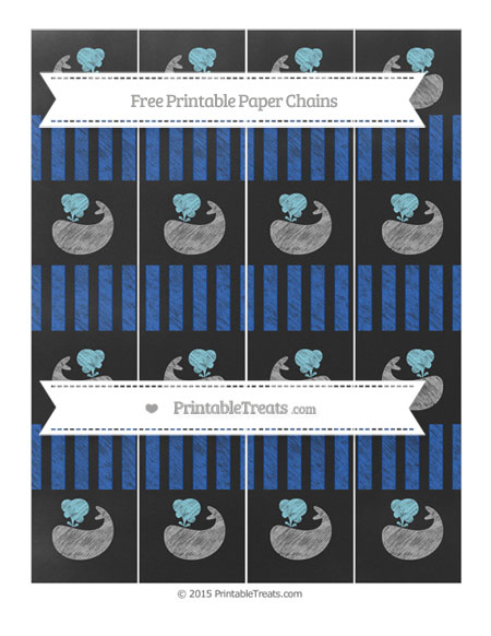 Free Sapphire Blue Striped Chalk Style Whale Paper Chains