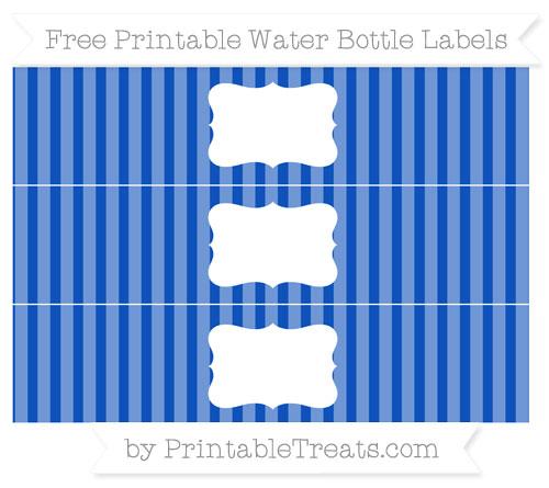 Free Sapphire Blue Striped Water Bottle Labels