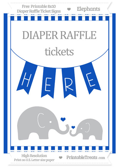 Free Sapphire Blue Striped Elephant 8x10 Diaper Raffle Ticket Sign