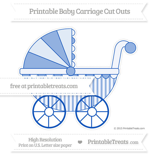 Free Sapphire Blue Striped Extra Large Baby Carriage Cut Outs