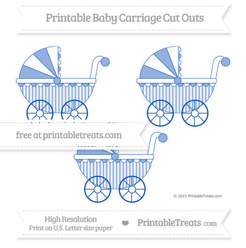 Free Sapphire Blue Striped Medium Baby Carriage Cut Outs