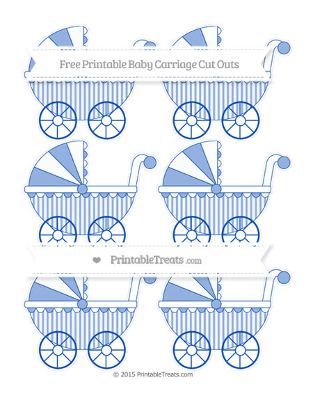 Free Sapphire Blue Striped Small Baby Carriage Cut Outs