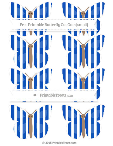 Free Sapphire Blue Striped Small Butterfly Cut Outs