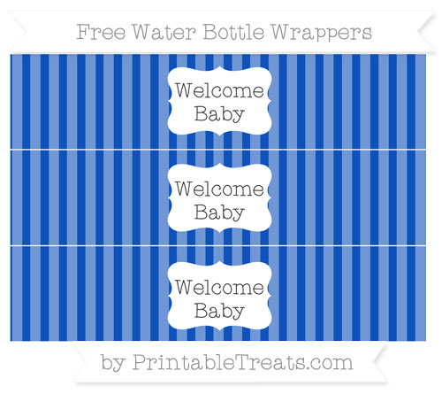 Free Sapphire Blue Striped Welcome Baby Water Bottle Wrappers