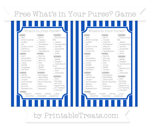 Free Sapphire Blue Striped What's in Your Purse Baby Shower Game