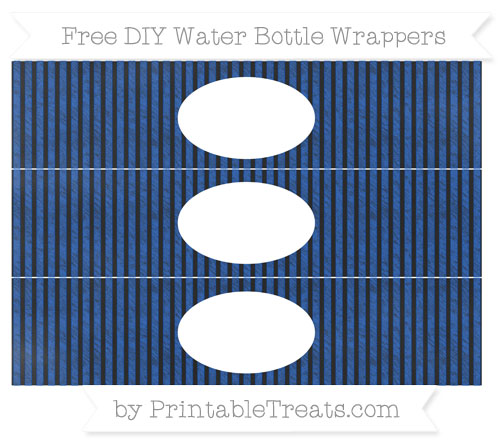 Free Sapphire Blue Thin Striped Pattern Chalk Style DIY Water Bottle Wrappers
