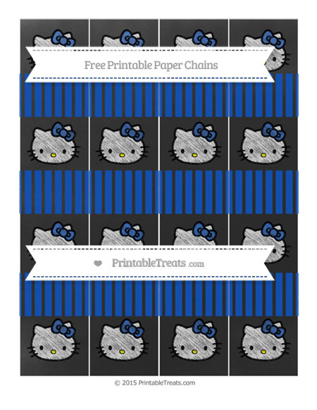Free Sapphire Blue Thin Striped Pattern Chalk Style Hello Kitty Paper Chains